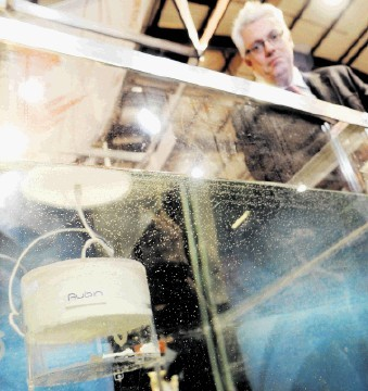 BUOYANT SOLUTION: Paddy Collins of Aubin with a model of his Gel Lift System