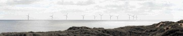 An artist's impression of the view of the proposed windfarm from the golf course