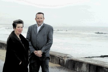 SEA VIEW: David Rodger of Vattenfall with Morag McCorkindale of Aberdeen Renewable Energy Group at Aberdeen Beach.