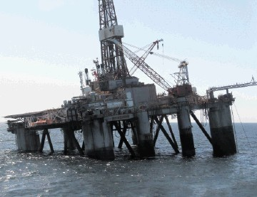 TIPPING POINT: The Ocean Guardian, which is searching for oil off the Falklands, lists after part of it started to sink during a power cut