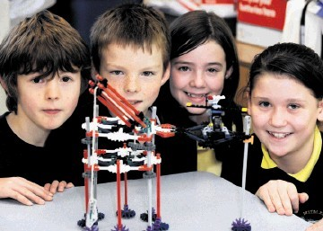 NEW HORIZONS: Making models of oil platforms are Midmar Primary School pupils, from left, Seamus Goodin, Dougal Humberstone, Skye Millard and Amy Black. Jim Irvine