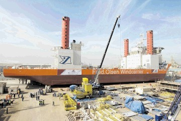 SIX-DAY LAUNCH: Fred Olsen's windfarm construction ship Brave Tern