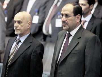 Iraqi prime minister Nouri al-Maliki, right, and Iraqi oil minister Hussain al-Shahristani