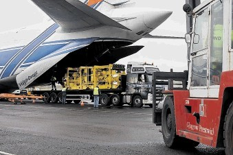 OVERSEAS HELP: Equipment needed to tackle the leak is unloaded from Prestwick Airport, Glasgow, after being flown in from the US