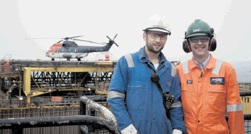 TEAMWORK: Mathew Donald, an operations supervisor for Petrofac, left, and  David Wilson, Centrica Energy's regional director for the central and northern North Sea