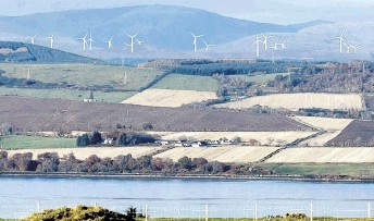 MOUNTAIN OF PROTEST: The developer's impression of how the 17-turbine windfarm  would look in the Ben Wyvis landscape