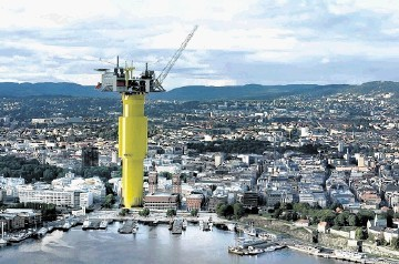 BEACON: Graphic showing the Aasta Hansteen oilfield spar platform scaled against Stavanger