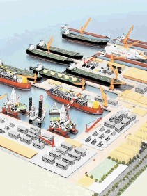 Schematic of the Jurong Aracruz shipyard in Brazil
