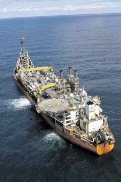 ON TRACK: The UK North Sea Triton production ship (FPSO)
