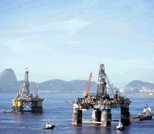 Rigs stationed off the coast of Brazil