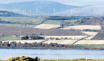 ICONIC LANDSCAPE:  Developer's impression of how the  wind turbines on the slopes of  Ben Wyvis will look