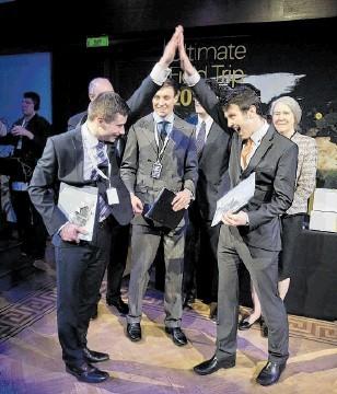 JUBILATION: Eric Brown, Hugh McQueen and Theo Scott, of Team Hydra, celebrate winning the UFT Grand Final 2013