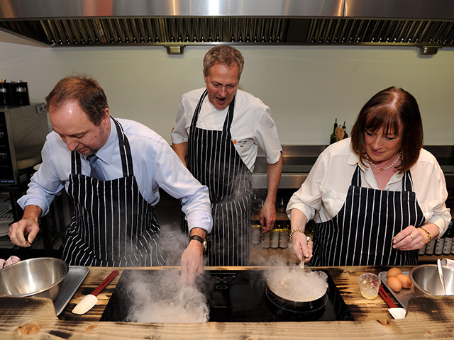 Nick Nairn, centre, watches as Jim Anderson and Eileen McBay work on their omelettes. Kenny Elrick Nick Nairn during a cooking demonstration