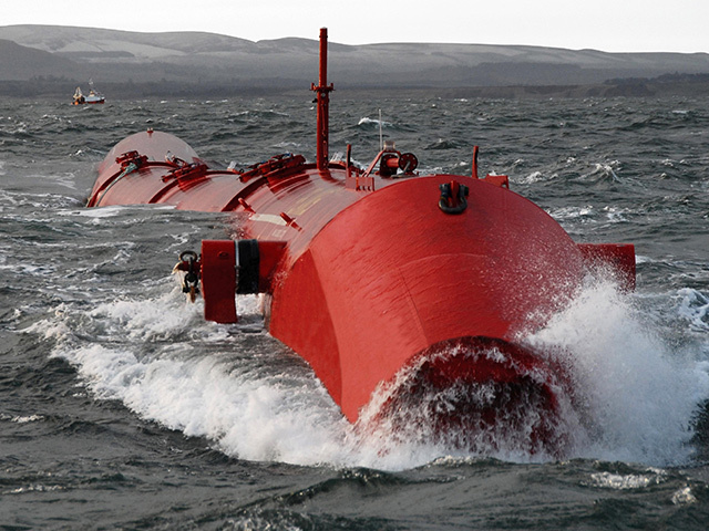 A Pelamis wavepower machine being tested