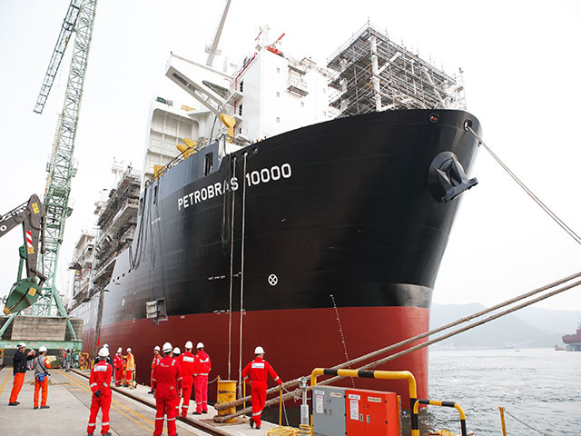 Petrobras' recent announcement of 41% cuts to spending means that scenes like the arrival of this new production ship in 2013 will become rarer with suggestions that only half of 29 proposed FSP may be built