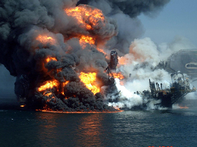 The Deepwater Horizon oil platform burning following a massive explosion in the Gulf of Mexico
