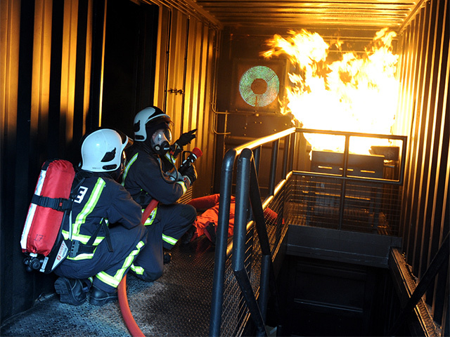 COURSES: The fire safety rig can accommodate up to 16 offshore workers at a time. Kenny Elrick