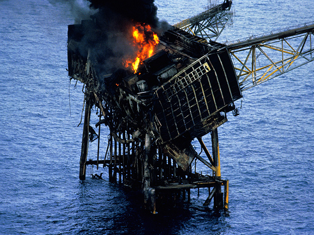 The wreckage of the Piper Alpha platform