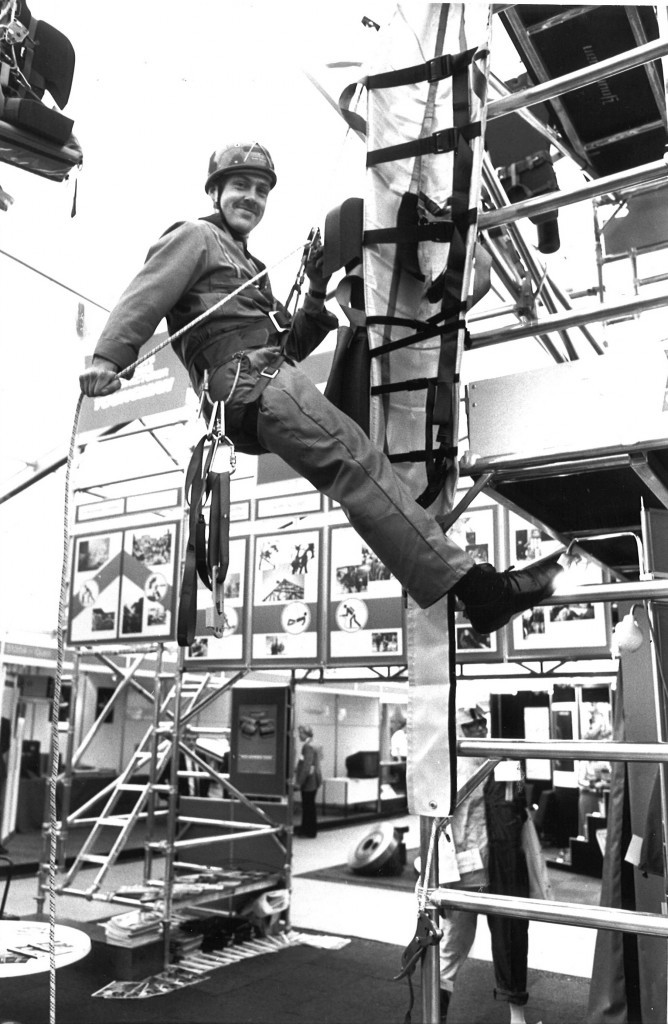 Rope Access training demonstration from Fireman Alan Davie at Offshore Europe 1989