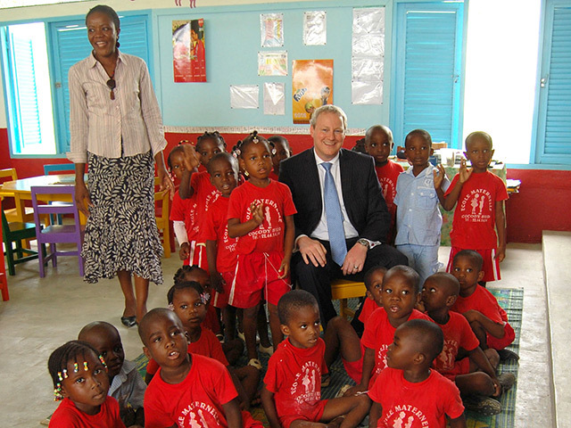 James Edens, Vice-President and Managing Director at CNR International, on a visit to Ecole Maternelle school, which CNR donated around £163,000 to refurbish, in Abidjan, Cote D'Ivoire.
