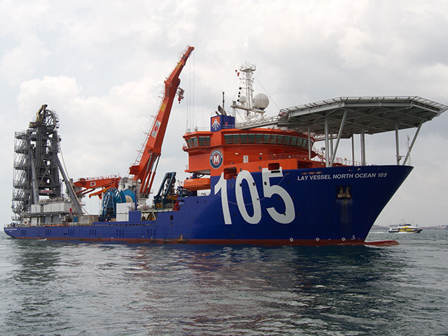 McDermott's Lay Vessel North Ocean 105, which was to be used in the North Sea under the Ocean Installer-McDermott agreement