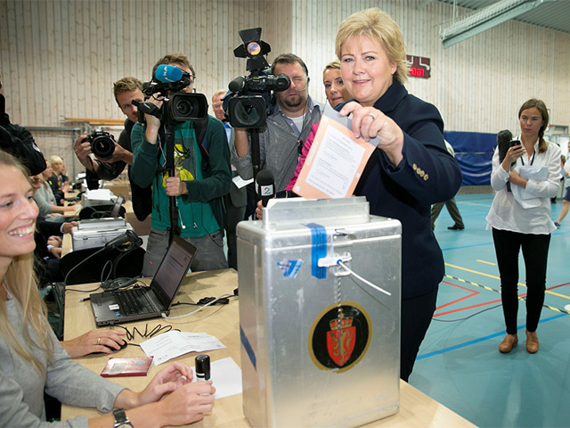 Chairman of the Conservative Party in Norway, Erna Solberg, casts her vote in the general election