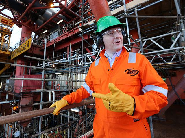Chancellor George Osborne at the Montrose North Sea platform