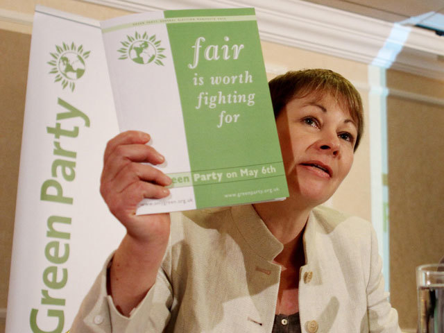 Caroline Lucas, Green Party MP, launches her party's manifesto for the general election at the Metropole Hotel in Brighton, East Sussex. PRESS ASSOCIATION Photo. Picture date: Thursday April 15, 2010. See PA story ELECTION Green. Green credit should read: Gareth Fuller/PA Wire
