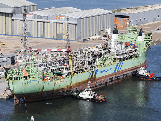 Bluewater's Haewene Brim vessel at Nigg. Picture: Global Energy Group.