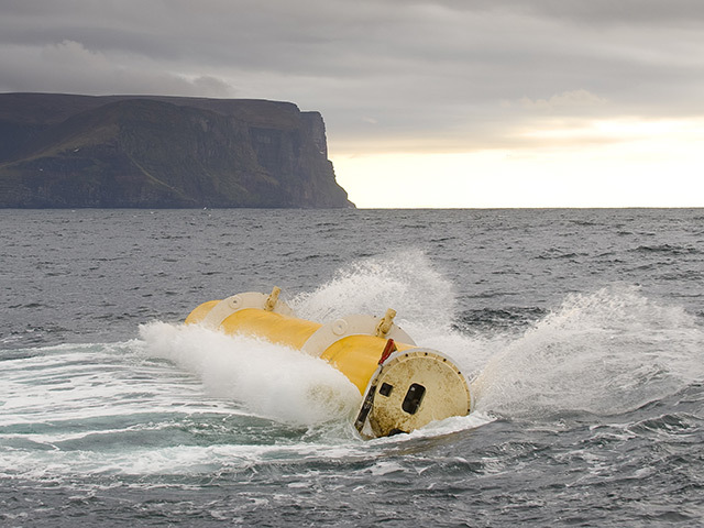 Oyster Wave energy converter in operation in the Pentland Firth