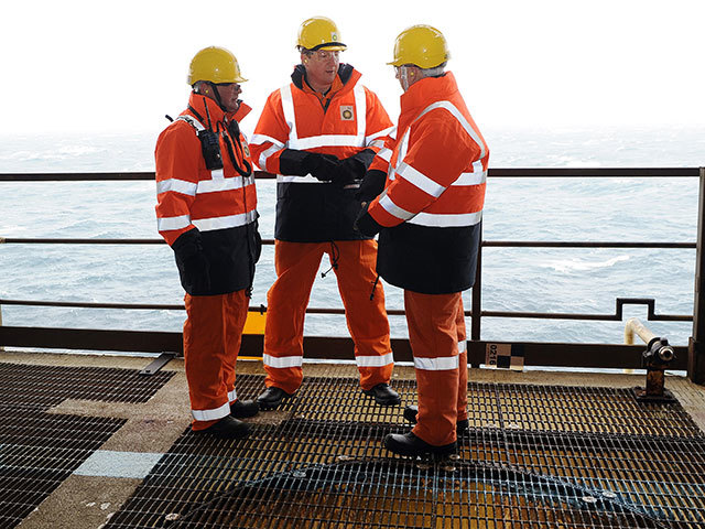 From left: Offshore Installation manager Mark Furness, PM David Cameron and BP's Trevor Garlick