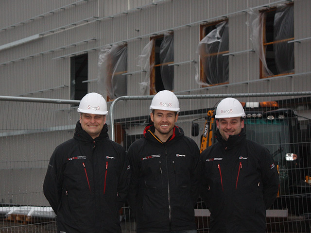 NEW PREMISES: SengS managing director Murray Kerr, centre, with Chris Waller, left, and Barry Forbes, right