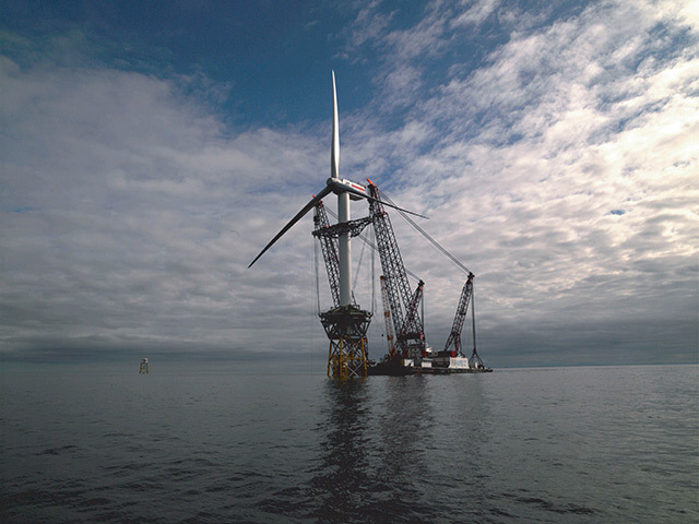 The world's first deepwater windfarm development at Beatrice in the Moray Firth.