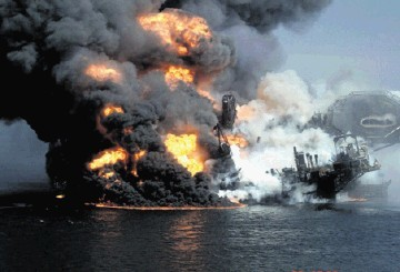 The Deepwater Horizon oil platform burning after the massive explosion