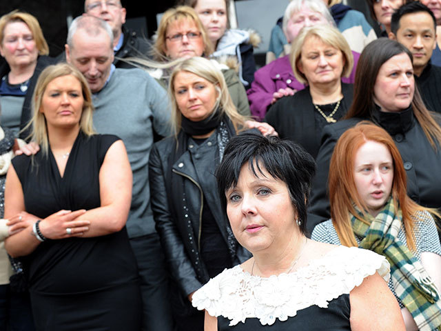 Family members of the 2009 Super Puma crash victims, following the end of the FAI