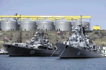 Russian Black Sea fleet ships anchored in one of the bays of Sevastopol, Crimea