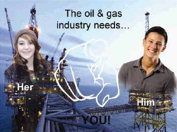 An offshore  oil and gas recuitment poster developed by Banff Academy students