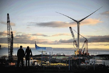 A general view of the world's largest and most powerful offshore wind turbine at Fife Energy Park in Methil, Scotland