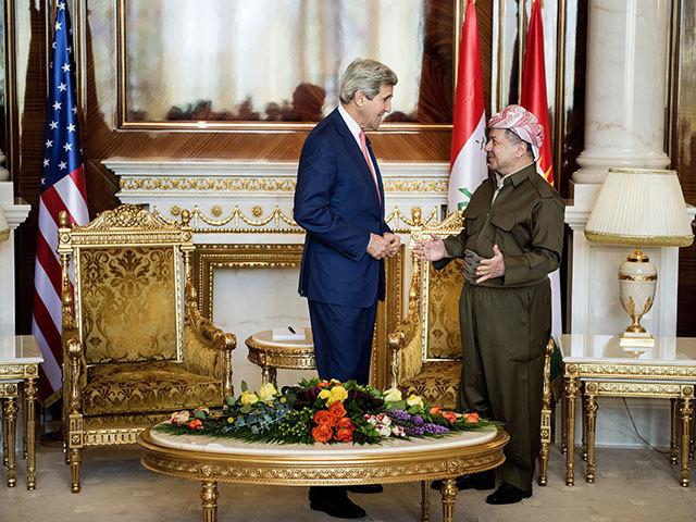 US Secretary of State John Kerry, left, speaks with Kurdish regional President Massoud Barzani