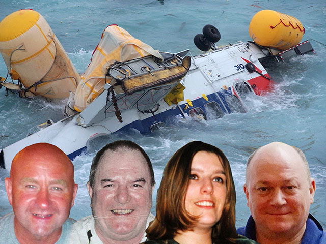 (left to right) Duncan Munro, Gary McCrossan, Sarah Darnley, and George Allison, who died after a Super Puma L2 helicopter went down in the North Sea.
