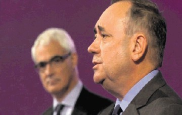 Better Together leader Alistair Darling and Scotland's First Minister Alex Salmond during last week's live TV debate on independence