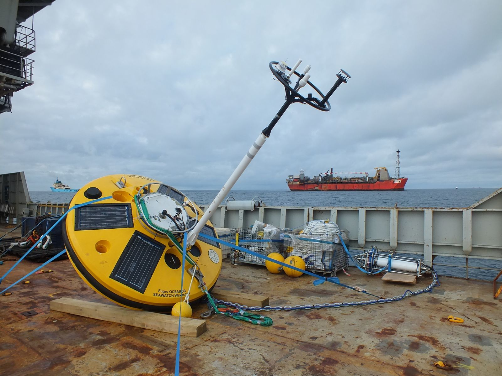 Wavescan buoy ready for deployment on board the Fugro Symphony
