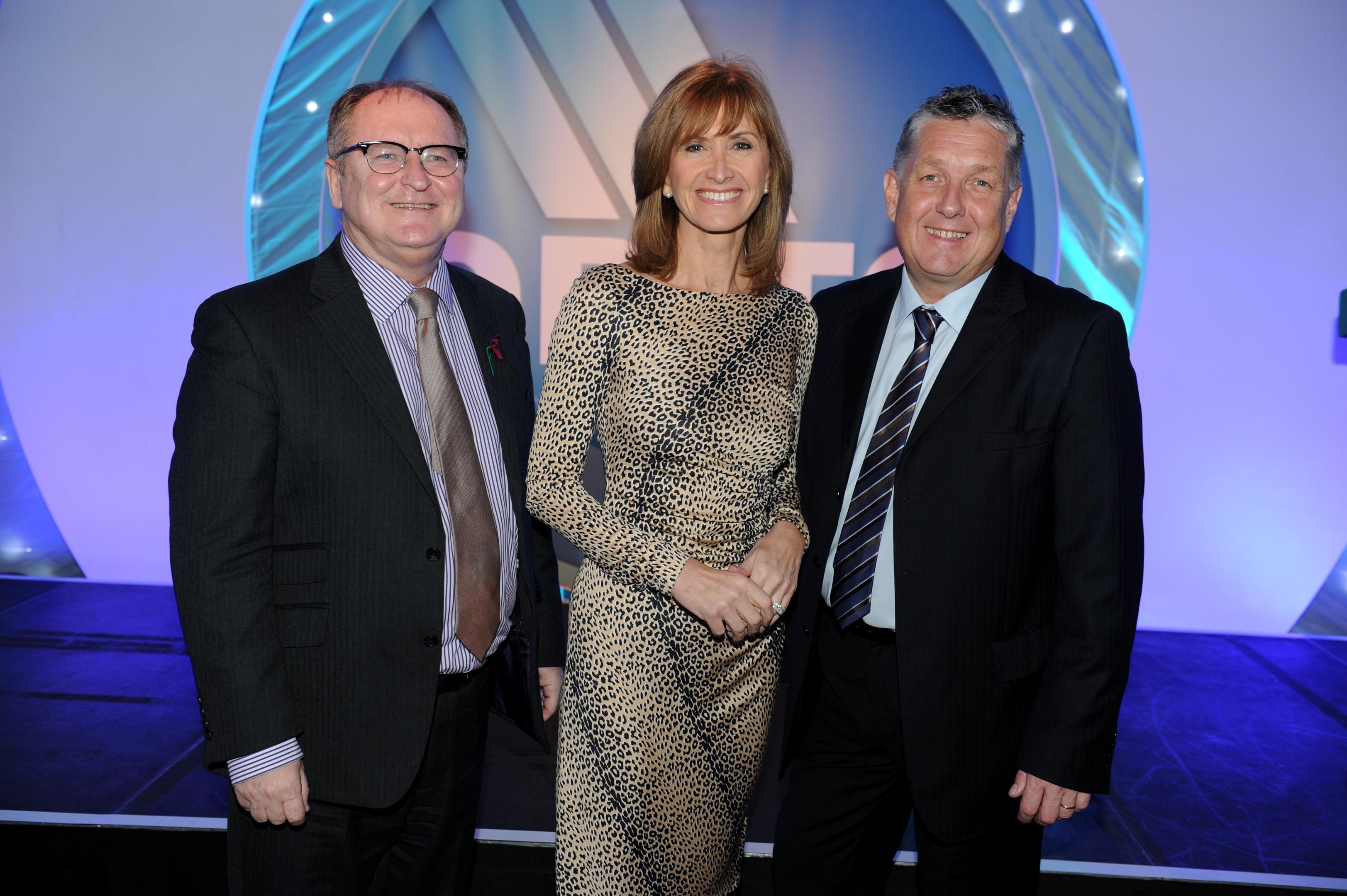Managing director of Opito, John McDonald with broadcaster Jackie Bird and chief executive David Doig