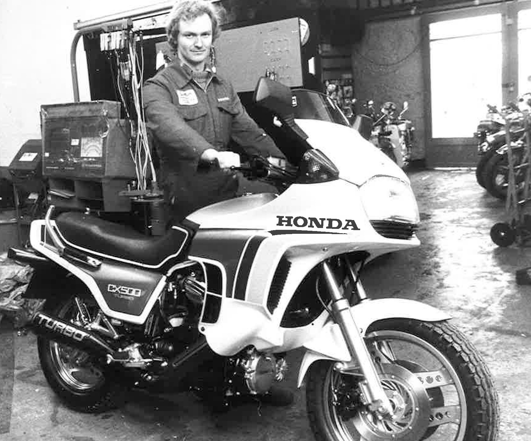 Ian Kirk with a Honda CX 500 Turbo, pictured in 1982