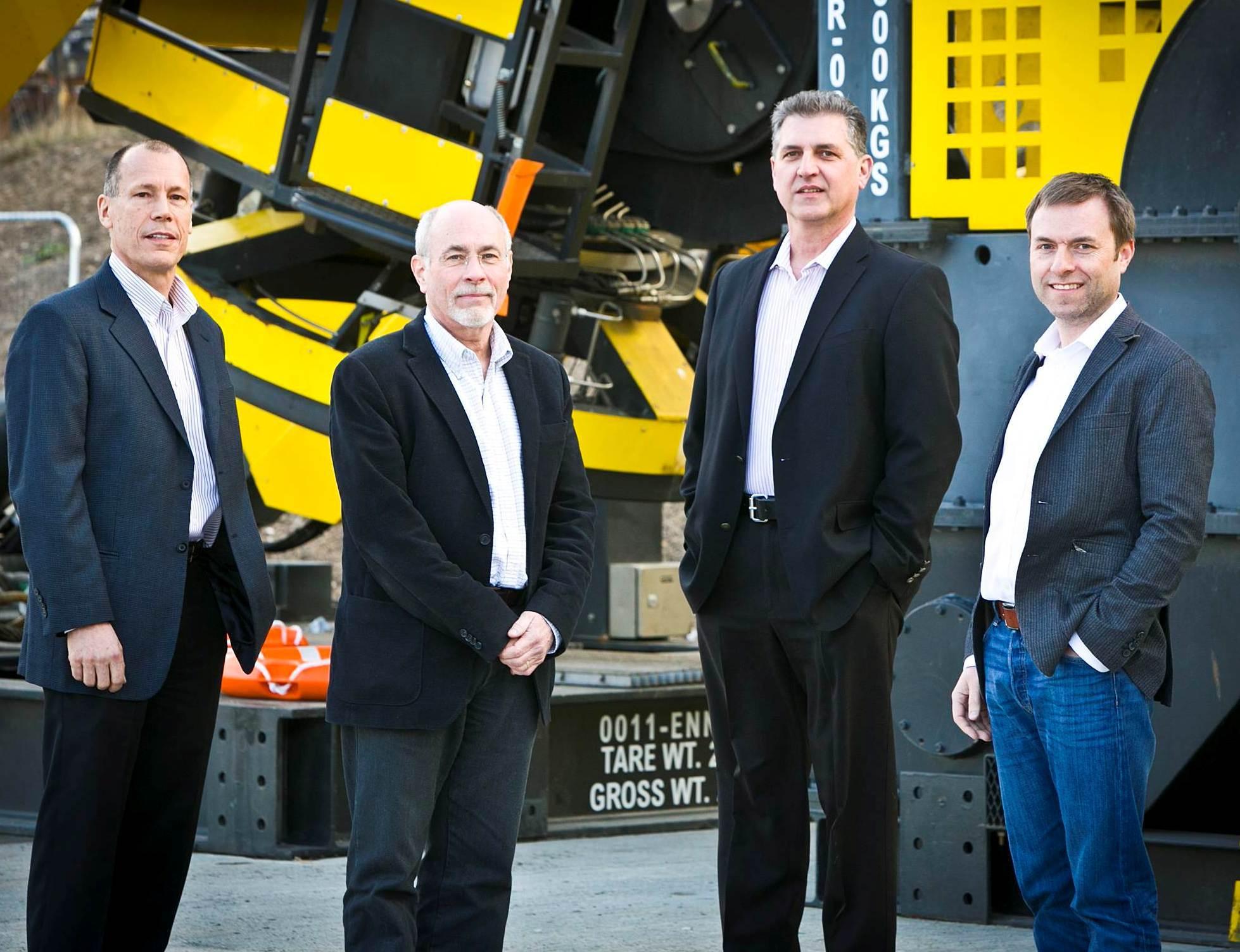 """Scott Wagner, Mark Vorenkamp and Brett """"Gonzo"""" Eychner with ROVOP managing director, Steven Gray"""
