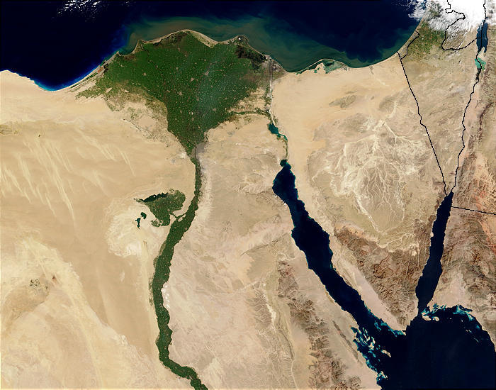 The Nile Delta. Picture by Jacques Descloitres, MODIS Rapid Response Team, NASA/GSFC
