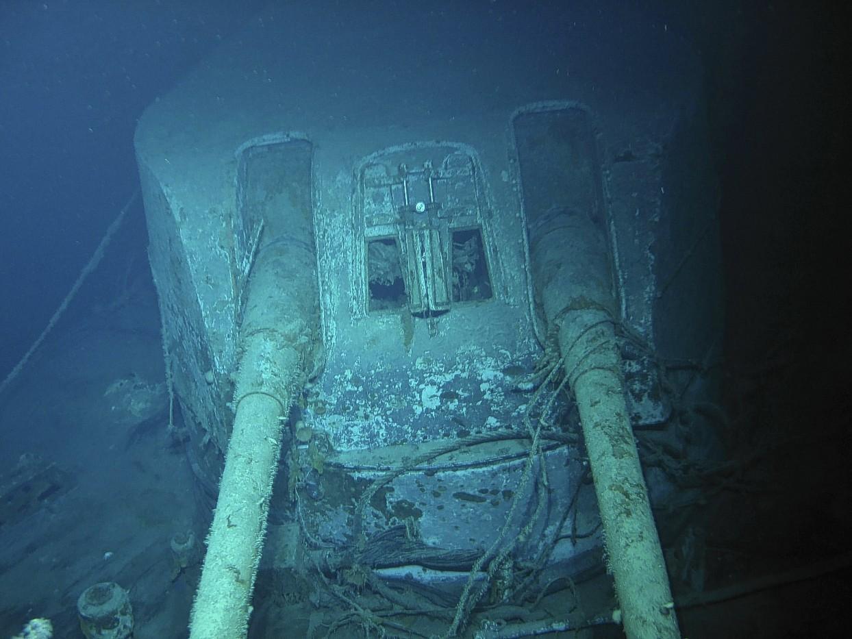 A gun turret on the sunken warship HMAS Sydney .