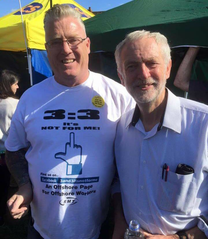 Labour leader Jeremy Corbyn with a 3:3 campaign supporter