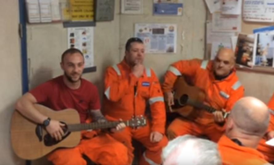 The crew on the North Sea's Brent Delta platform