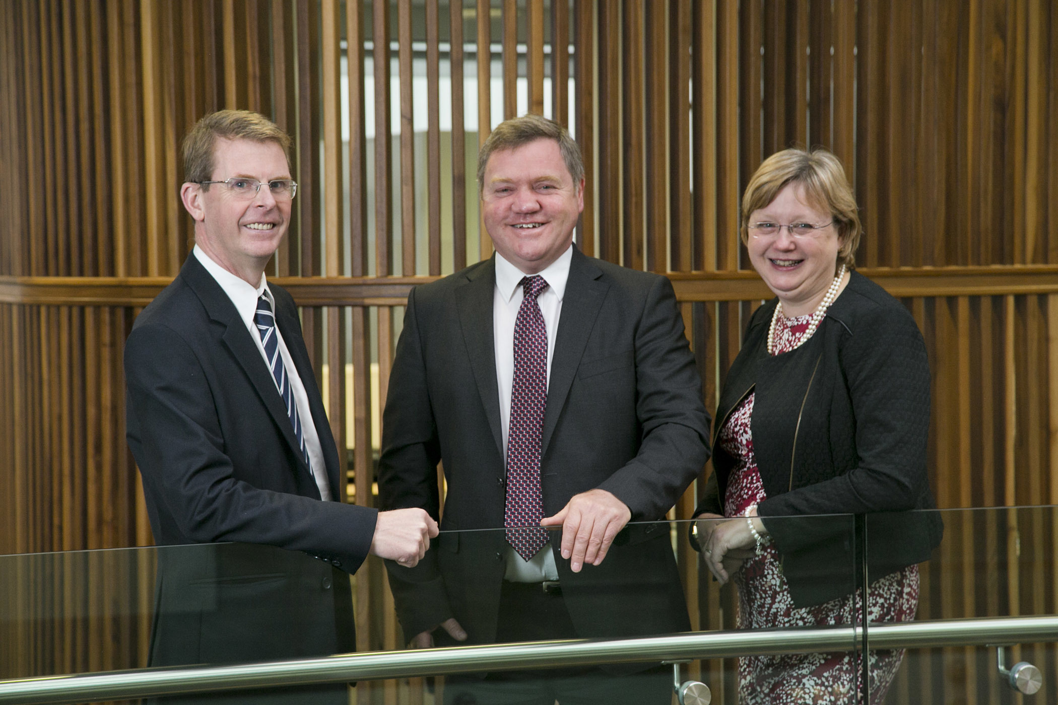 Ace Winches chief executive Alfie Cheyne, centre, with new chief operating officer Richard Wilson and Hayley Yule, marketing and communications director
